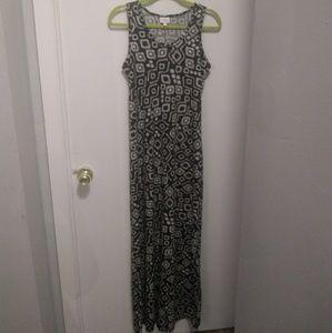 Lularoe Black and White Printed Tank Maxi Dress to